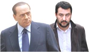 Berlusconi da caimano ad agnellino  a rimorchio di Matteo Salvini